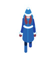 flat sketch woman winter clothing happy vector image
