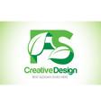 fs green leaf letter design logo eco bio leaf vector image vector image