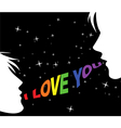 Gay couple and words of love vector image vector image