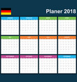 german planner blank for 2018 scheduler agenda or vector image