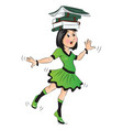 girl balancing books on her head vector image vector image