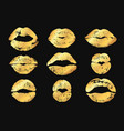 golden lips lipstick imprint with shimmer luxury vector image vector image