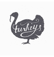 Hand drawn farm bird hipster silhouette Turkey vector image vector image