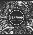 hand drawn seafood design template crabsfishes vector image