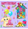 Happy birthday card with cute pet and toys vector image vector image