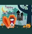 happy halloween cat in night background vector image