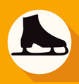icon ice skates on white circle with a long shadow vector image vector image