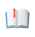 icon of open textbook with red bookmark vector image