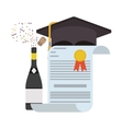 isolated graduation cap and diploma design vector image vector image