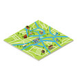 isometric map a city in gps style vector image