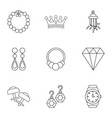 jewelry piece icons set outline style vector image vector image