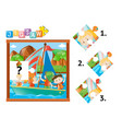 jigsaw puzzle game with kids on sailboat vector image vector image