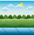landscape river field mountains day sky vector image