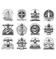 lighthouse and beacon heraldic icons vector image vector image
