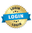 login 3d gold badge with blue ribbon vector image