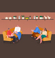 man and woman speaking and eating indoor vector image vector image