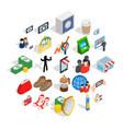 marketing icons set isometric style vector image vector image