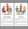 office work and strategy multicolored banners vector image vector image