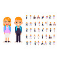 school boy girl student pupil different poses vector image