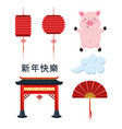 set chinese decoration lamps with pig and fan vector image vector image