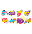 set colorful team or work with us stickers vector image vector image