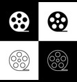 set film reel icons isolated on black and white vector image