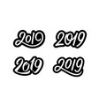 set new year 2019 calligraphy numbers vector image vector image