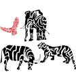 Set of african animal silhouettes vector image vector image