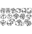 set of dice in different positions vector image vector image