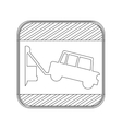 silhouette button road sign square with tow truck vector image vector image
