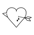 sketch silhouette image heart pierced bleeding out vector image vector image