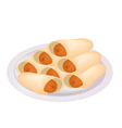 Stack of Sausage Pancake on A Plate vector image