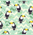 tropical seamless pattern with toucans exotic vector image