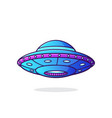 ufo with lights unidentified flying object vector image