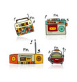 vintage radio set sketch for your design vector image vector image