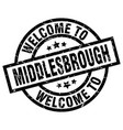 welcome to middlesbrough black stamp vector image vector image