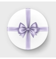 white gift box with lilac bow on background vector image vector image