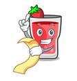 with menu strawberry mojito mascot cartoon vector image