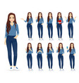 woman in jeans set vector image vector image