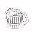 Wooden mug with full beer vector image vector image
