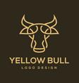yellow bull logo design vector image vector image