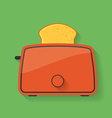 Icon of kitchen appliance - toaster with slice of vector image