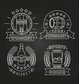 whiskey and drink labels collection on chalkboard vector image