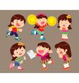 cute cartoon girl many actions vector image