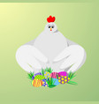 a hen gives us colorful bright easter eggs eps10 vector image