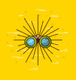 binoculars over yellow background icon image vector image vector image