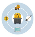 bitcoin mining technological devices vector image