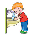 boy under running water in washstand washes vector image vector image