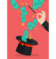Business hand with money flying out of the magic vector image vector image