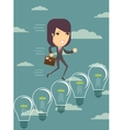 Business woman climbing up ideas vector image vector image